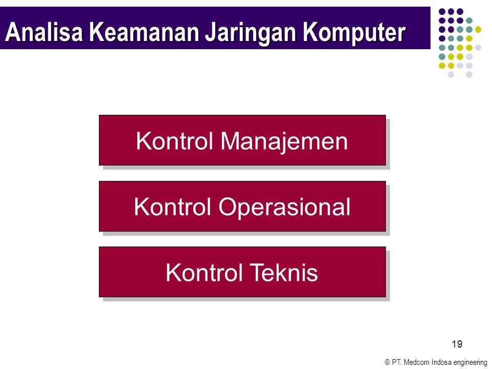 © PT. Medcom Indosa engineering 19 Analisa Keamanan Jaringan Komputer Kontrol Manajemen Kontrol Operasional Kontrol Teknis