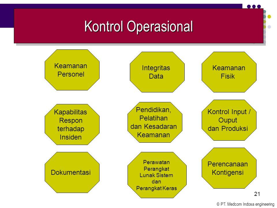 © PT. Medcom Indosa engineering 21 Kontrol Operasional Keamanan Personel Dokumentasi Integritas Data Perawatan Perangkat Lunak Sistem dan Perangkat Ke