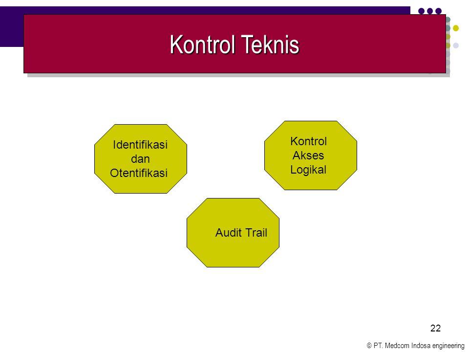 © PT. Medcom Indosa engineering 22 Kontrol Teknis Audit Trail Kontrol Akses Logikal Identifikasi dan Otentifikasi