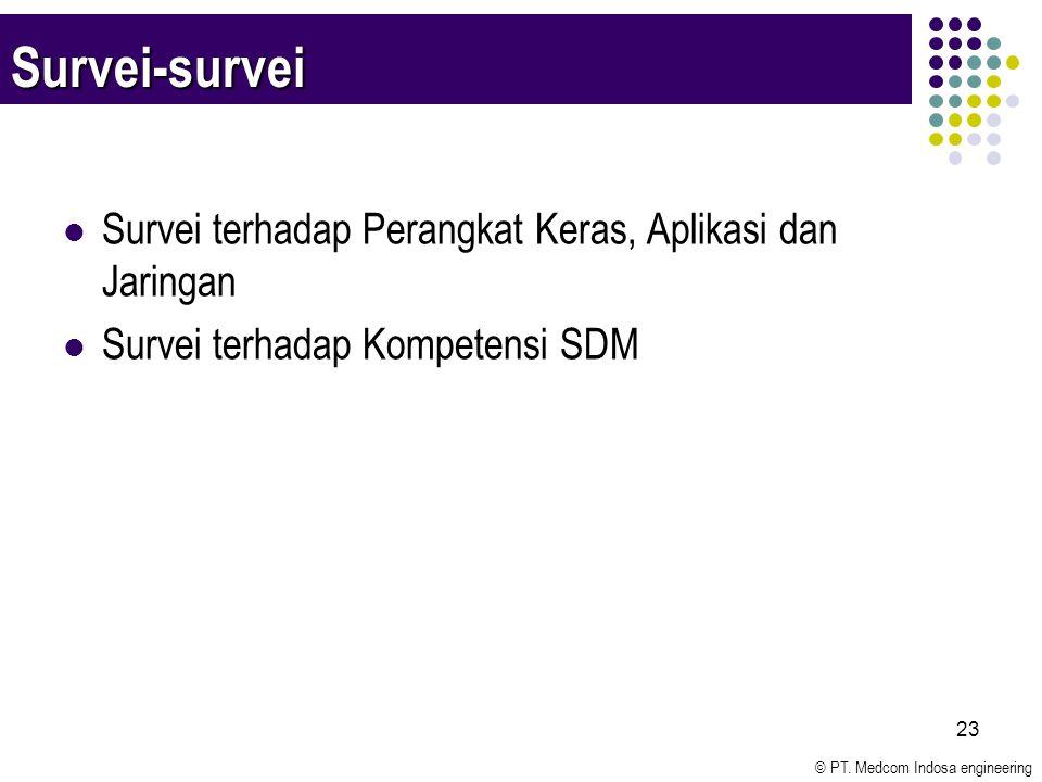© PT. Medcom Indosa engineering 23 Survei-survei Survei terhadap Perangkat Keras, Aplikasi dan Jaringan Survei terhadap Kompetensi SDM