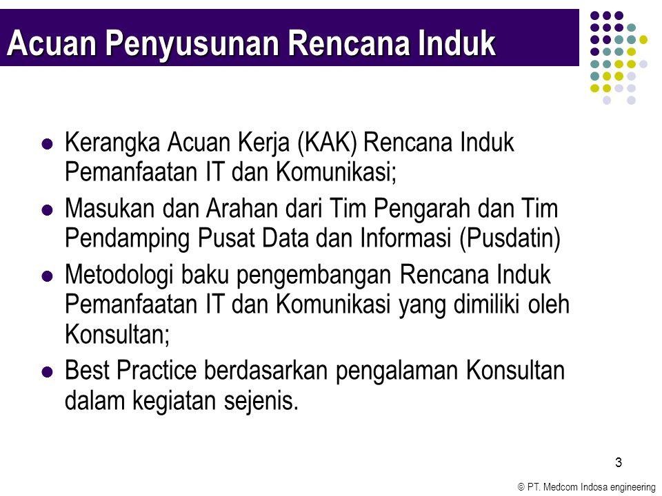 © PT. Medcom Indosa engineering 3 Acuan Penyusunan Rencana Induk Kerangka Acuan Kerja (KAK) Rencana Induk Pemanfaatan IT dan Komunikasi; Masukan dan A