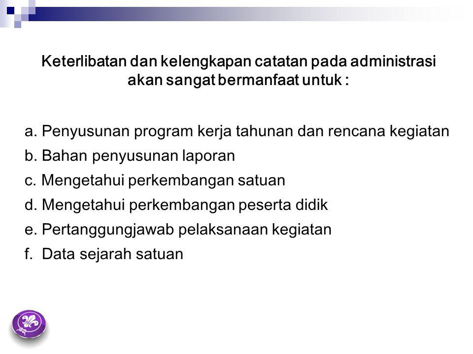 Keterlibatan dan kelengkapan catatan pada administrasi akan sangat bermanfaat untuk : a. Penyusunan program kerja tahunan dan rencana kegiatan b. Baha