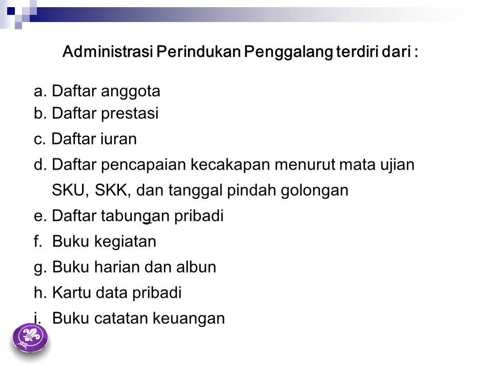 Administrasi Perindukan Penggalang terdiri dari : a. Daftar anggota b. Daftar prestasi c. Daftar iuran d. Daftar pencapaian kecakapan menurut mata uji