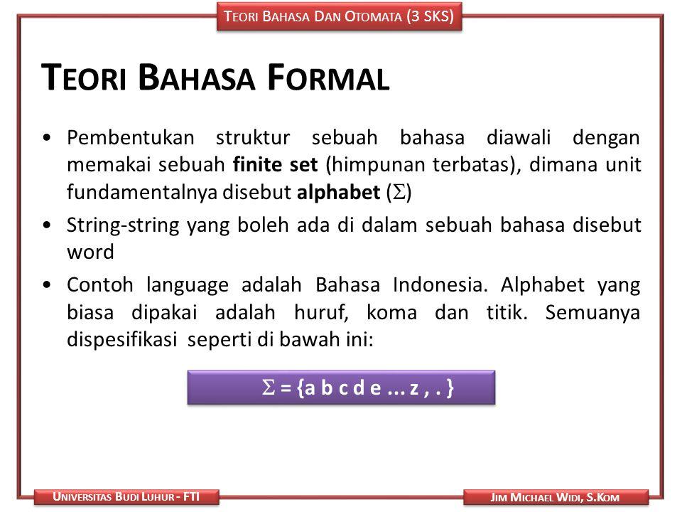T EORI B AHASA D AN O TOMATA (3 SKS) J IM M ICHAEL W IDI, S.K OM U NIVERSITAS B UDI L UHUR - FTI T EORI B AHASA F ORMAL Pembentukan struktur sebuah ba