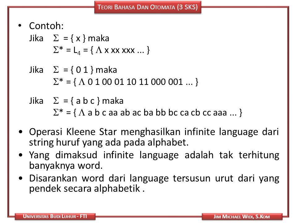 T EORI B AHASA D AN O TOMATA (3 SKS) J IM M ICHAEL W IDI, S.K OM U NIVERSITAS B UDI L UHUR - FTI Contoh: Jika  = { x } maka  * = L 4 = {  x xx xxx.