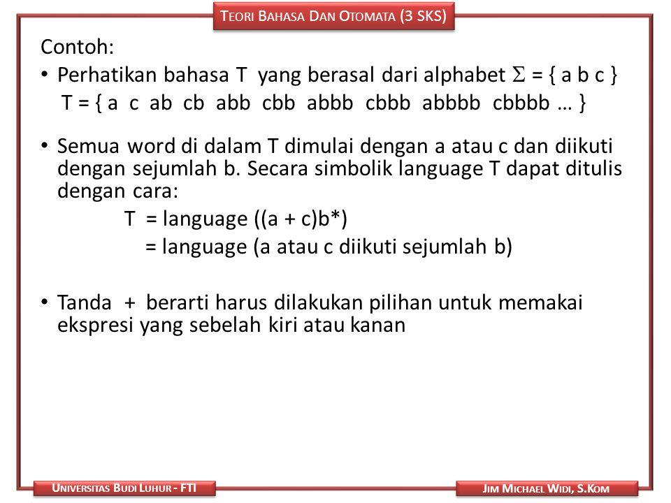 T EORI B AHASA D AN O TOMATA (3 SKS) J IM M ICHAEL W IDI, S.K OM U NIVERSITAS B UDI L UHUR - FTI Contoh: Perhatikan bahasa T yang berasal dari alphabe