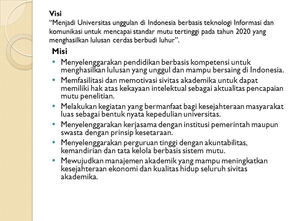 """Visi """"Menjadi Universitas unggulan di Indonesia berbasis teknologi Informasi dan komunikasi untuk mencapai standar mutu tertinggi pada tahun 2020 yang"""