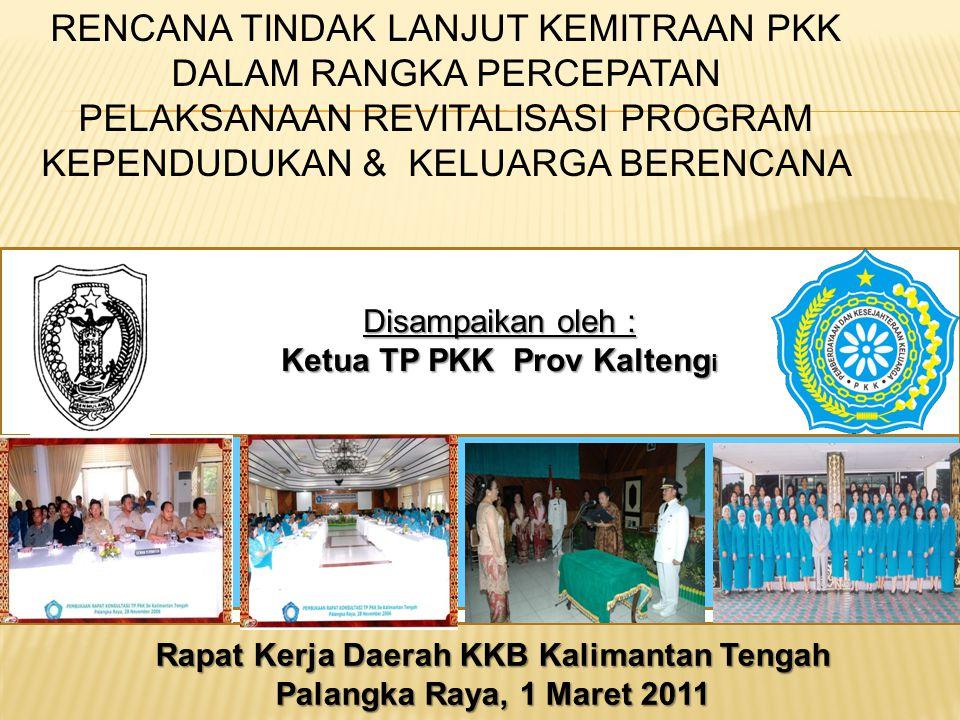 Disampaikan oleh : Ketua TP PKK Prov Kalteng i Rapat Kerja Daerah KKB Kalimantan Tengah Palangka Raya, 1 Maret 2011 RENCANA TINDAK LANJUT KEMITRAAN PK