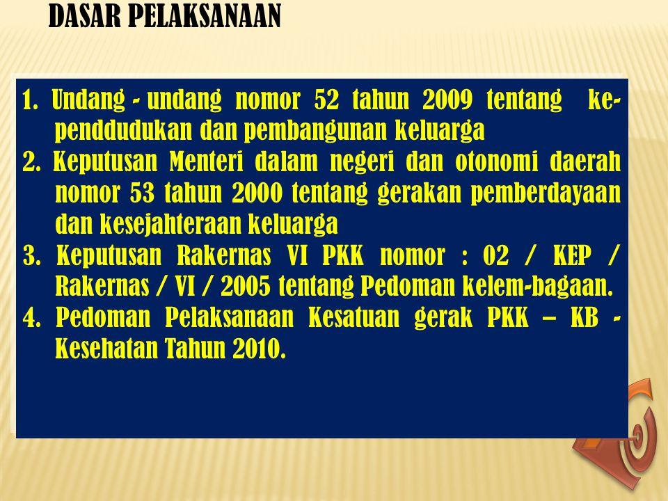 DASAR PELAKSANAAN 1. Undang - undang nomor 52 tahun 2009 tentang ke- penddudukan dan pembangunan keluarga 2. Keputusan Menteri dalam negeri dan otonom