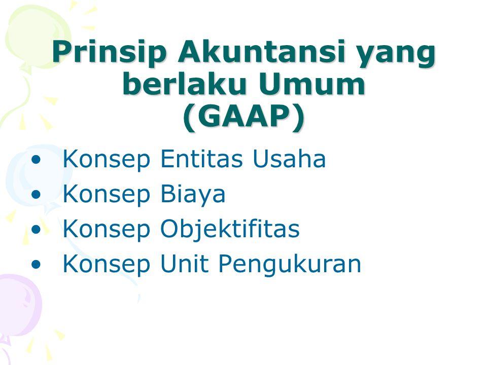 Prinsip Akuntansi yang berlaku Umum (GAAP) Konsep Entitas Usaha Konsep Biaya Konsep Objektifitas Konsep Unit Pengukuran
