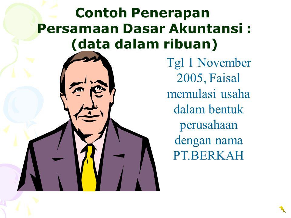 Tgl 1 November 2005, Faisal memulasi usaha dalam bentuk perusahaan dengan nama PT.BERKAH Contoh Penerapan Persamaan Dasar Akuntansi : (data dalam ribu