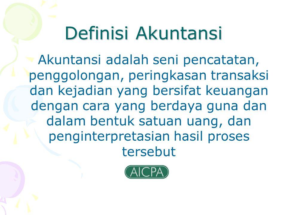 Definisi Akuntansi Akuntansi adalah seni pencatatan, penggolongan, peringkasan transaksi dan kejadian yang bersifat keuangan dengan cara yang berdaya
