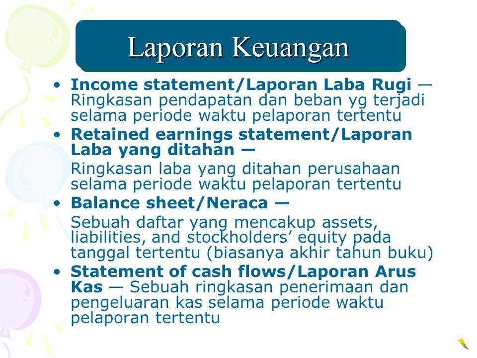 Laporan Keuangan Income statement/Laporan Laba Rugi — Ringkasan pendapatan dan beban yg terjadi selama periode waktu pelaporan tertentu Retained earni