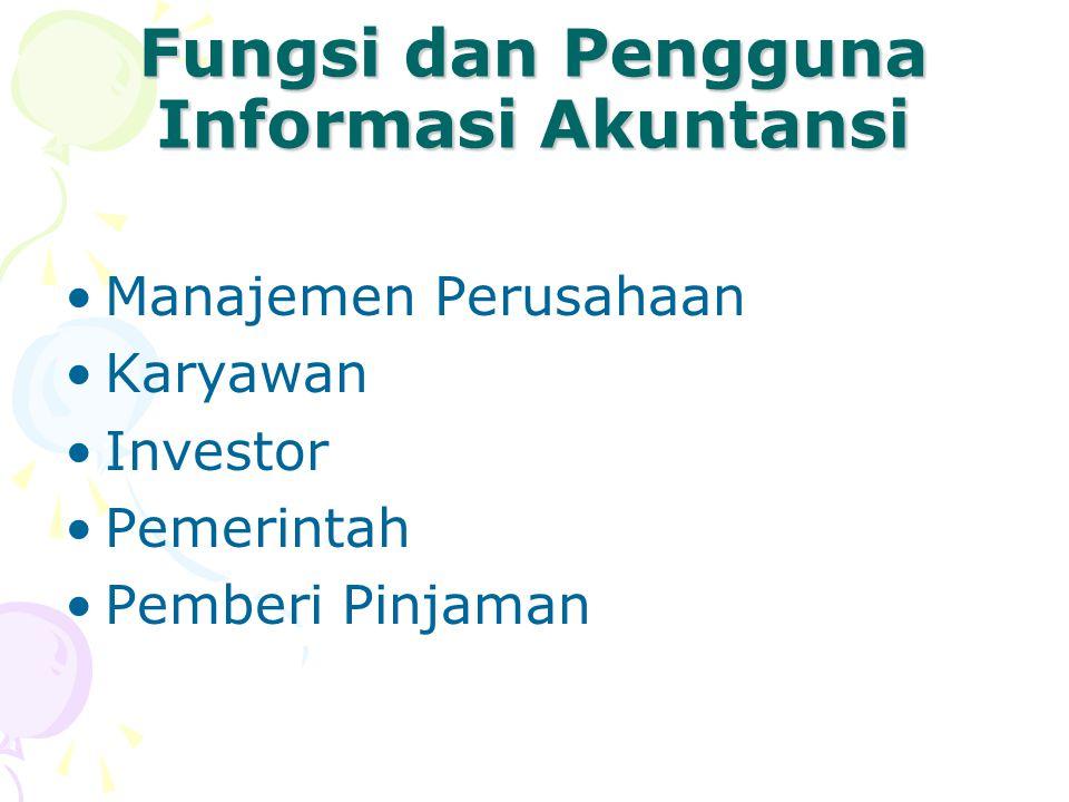 Fungsi dan Pengguna Informasi Akuntansi Manajemen Perusahaan Karyawan Investor Pemerintah Pemberi Pinjaman