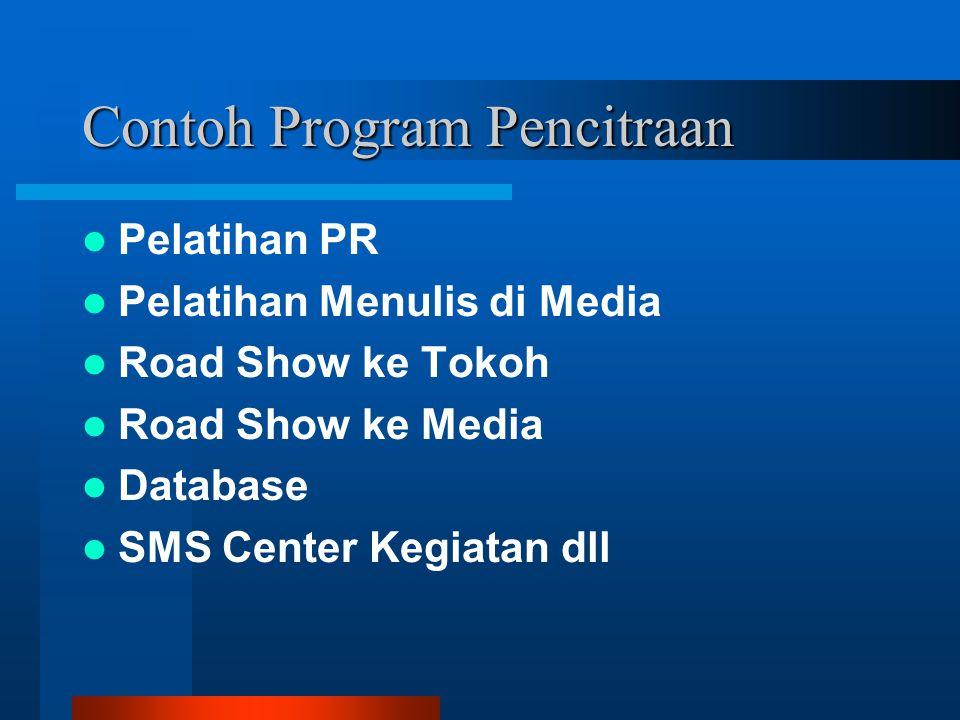 Contoh Program Pencitraan Pelatihan PR Pelatihan Menulis di Media Road Show ke Tokoh Road Show ke Media Database SMS Center Kegiatan dll