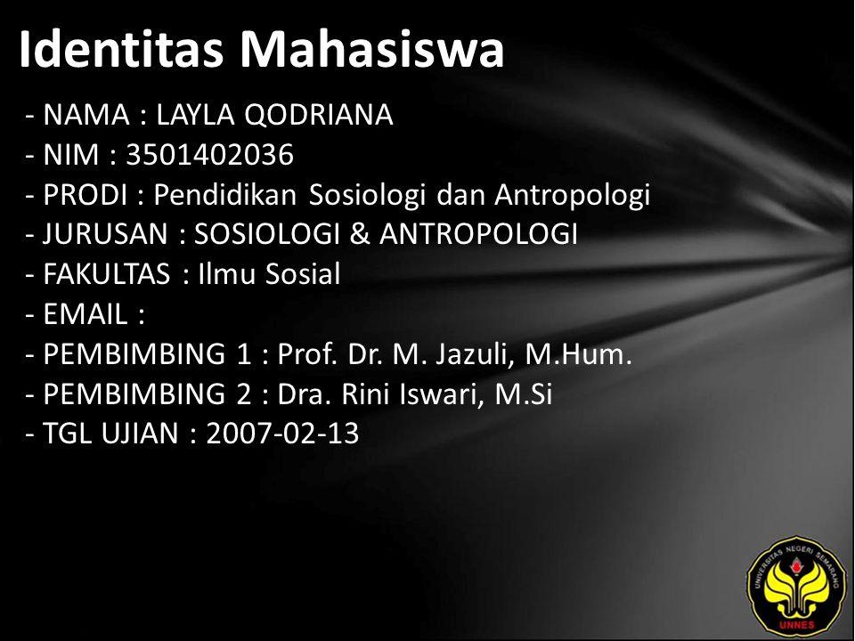 Identitas Mahasiswa - NAMA : LAYLA QODRIANA - NIM : 3501402036 - PRODI : Pendidikan Sosiologi dan Antropologi - JURUSAN : SOSIOLOGI & ANTROPOLOGI - FAKULTAS : Ilmu Sosial - EMAIL : - PEMBIMBING 1 : Prof.
