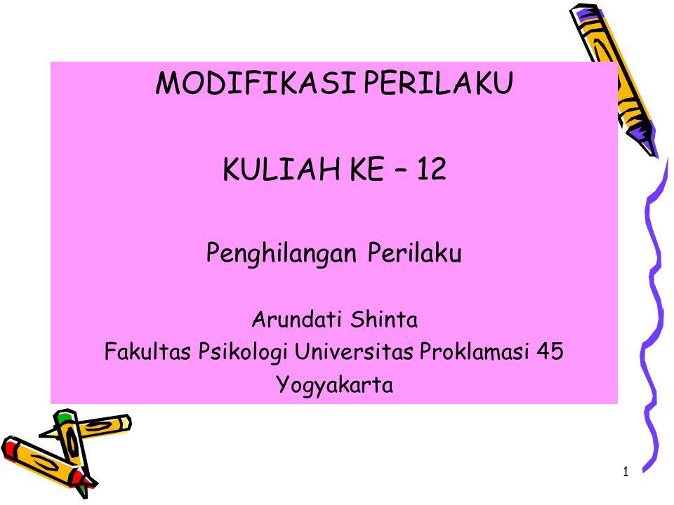 1 MODIFIKASI PERILAKU KULIAH KE – 12 Penghilangan Perilaku Arundati Shinta Fakultas Psikologi Universitas Proklamasi 45 Yogyakarta
