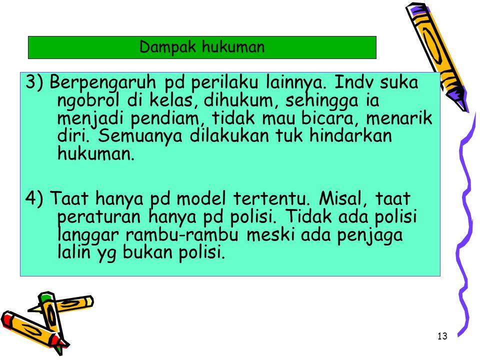 13 3) Berpengaruh pd perilaku lainnya. Indv suka ngobrol di kelas, dihukum, sehingga ia menjadi pendiam, tidak mau bicara, menarik diri. Semuanya dila