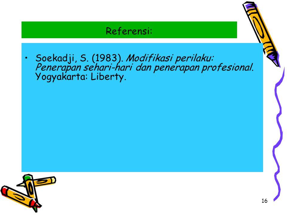 16 Referensi: Soekadji, S. (1983). Modifikasi perilaku: Penerapan sehari-hari dan penerapan profesional. Yogyakarta: Liberty.