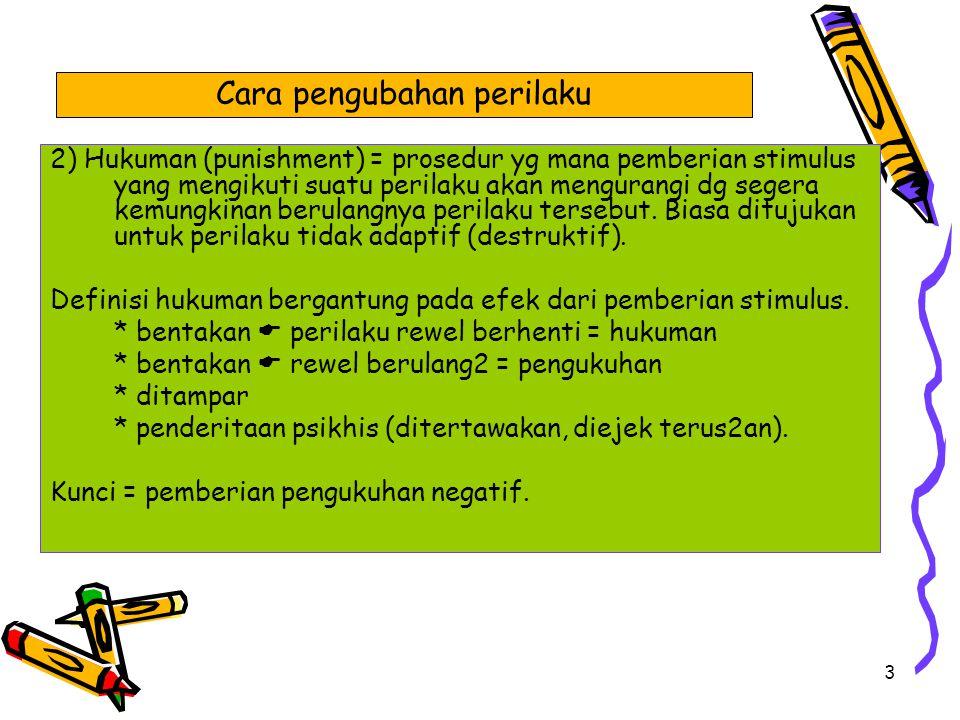3 2) Hukuman (punishment) = prosedur yg mana pemberian stimulus yang mengikuti suatu perilaku akan mengurangi dg segera kemungkinan berulangnya perila