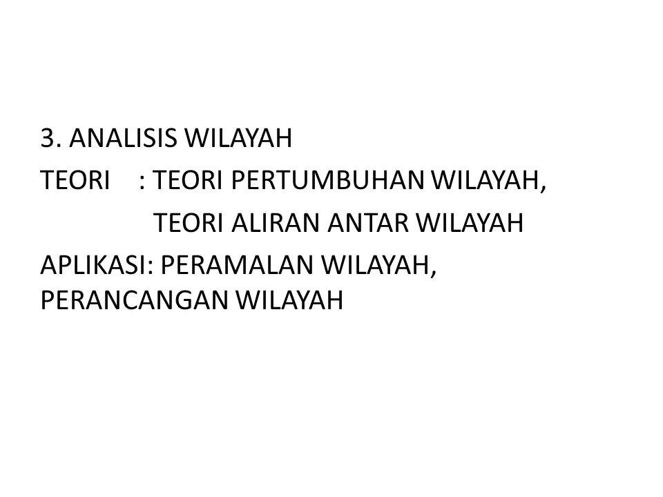 3. ANALISIS WILAYAH TEORI : TEORI PERTUMBUHAN WILAYAH, TEORI ALIRAN ANTAR WILAYAH APLIKASI: PERAMALAN WILAYAH, PERANCANGAN WILAYAH