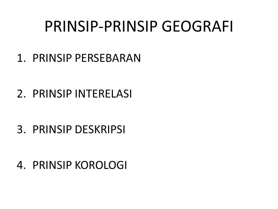 PRINSIP-PRINSIP GEOGRAFI 1.PRINSIP PERSEBARAN 2.PRINSIP INTERELASI 3.PRINSIP DESKRIPSI 4.PRINSIP KOROLOGI