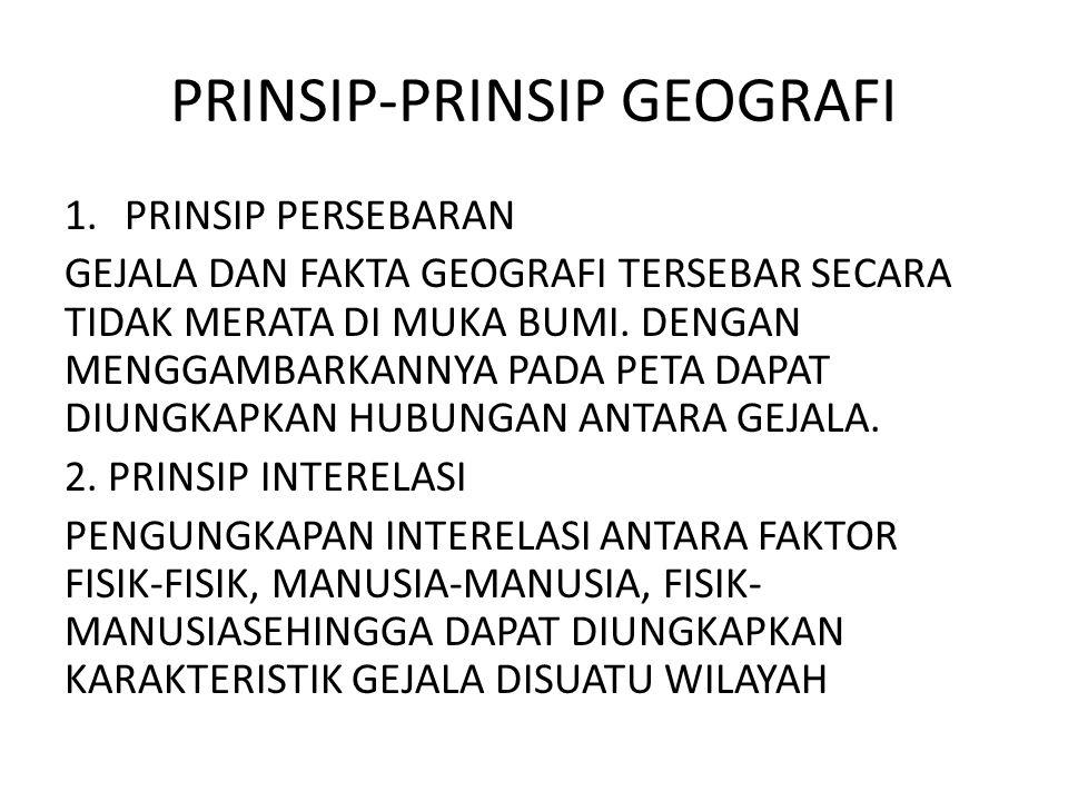 PRINSIP-PRINSIP GEOGRAFI 1.PRINSIP PERSEBARAN GEJALA DAN FAKTA GEOGRAFI TERSEBAR SECARA TIDAK MERATA DI MUKA BUMI. DENGAN MENGGAMBARKANNYA PADA PETA D