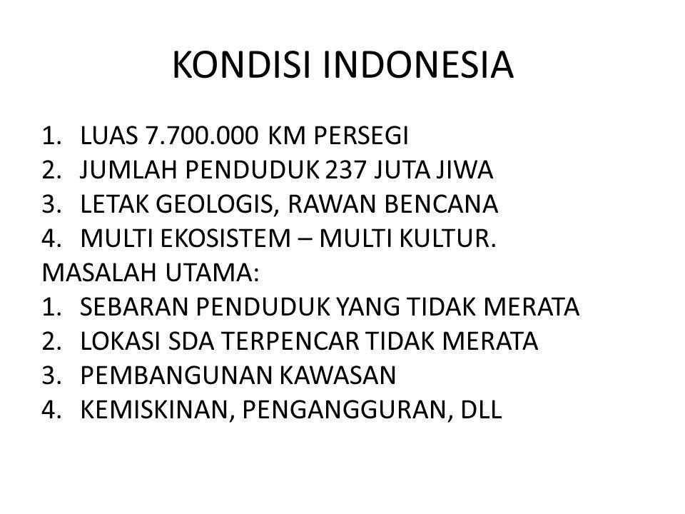KONDISI INDONESIA 1.LUAS 7.700.000 KM PERSEGI 2.JUMLAH PENDUDUK 237 JUTA JIWA 3.LETAK GEOLOGIS, RAWAN BENCANA 4.MULTI EKOSISTEM – MULTI KULTUR. MASALA