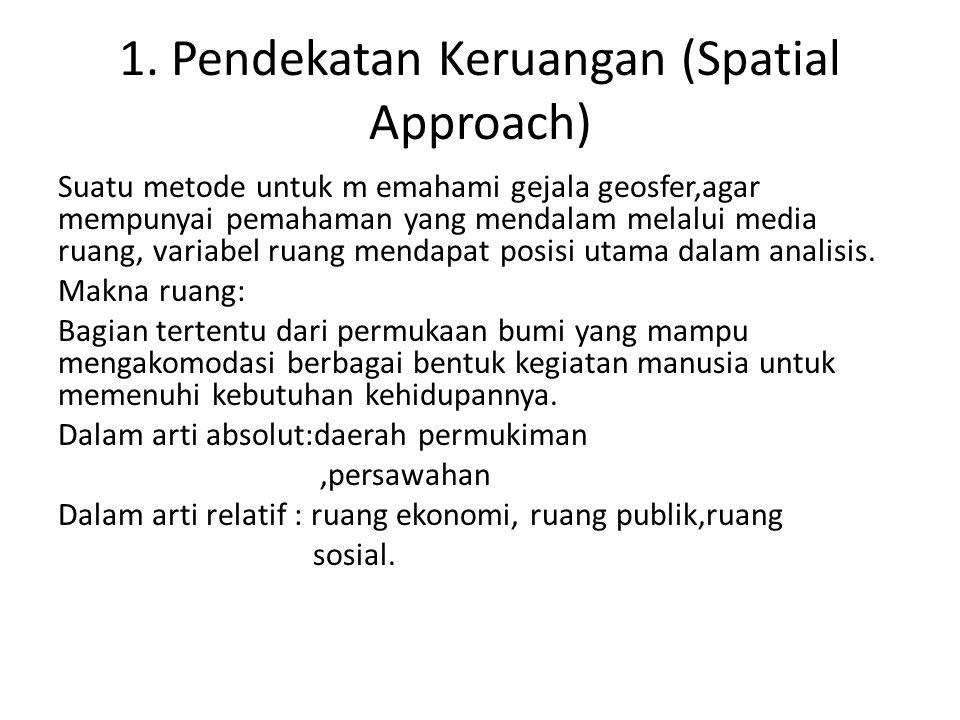 1. Pendekatan Keruangan (Spatial Approach) Suatu metode untuk m emahami gejala geosfer,agar mempunyai pemahaman yang mendalam melalui media ruang, var