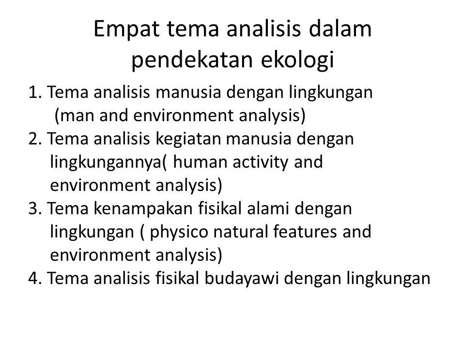 Empat tema analisis dalam pendekatan ekologi 1. Tema analisis manusia dengan lingkungan (man and environment analysis) 2. Tema analisis kegiatan manus