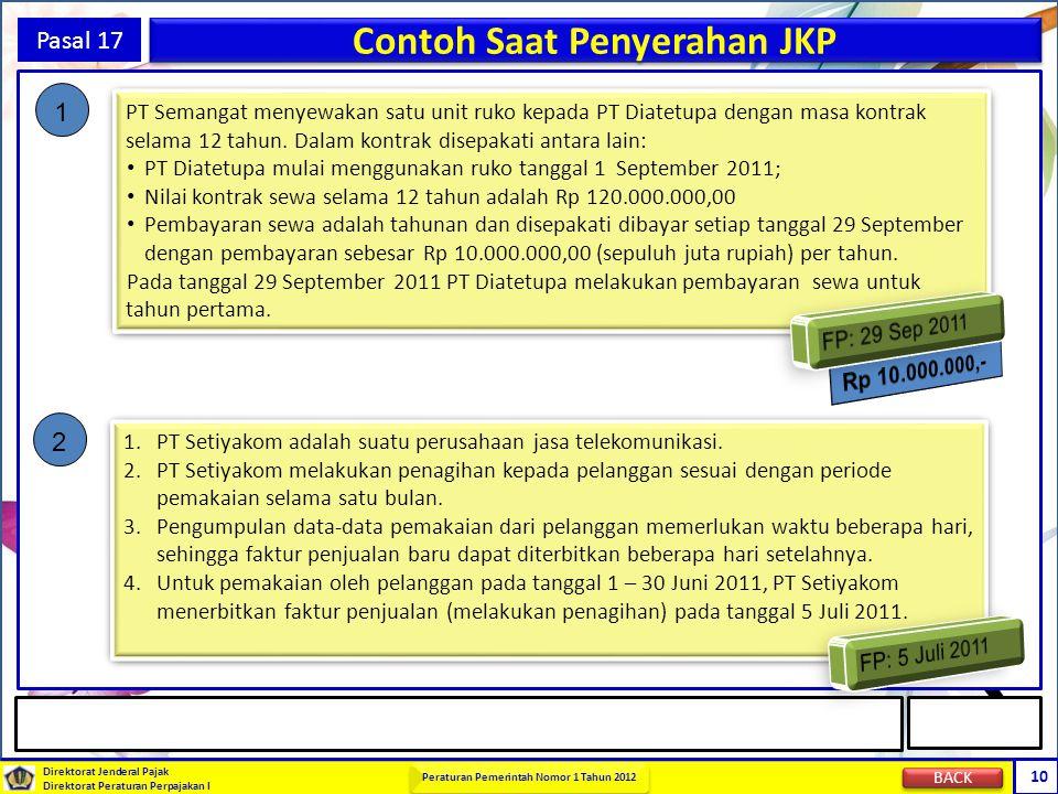 Direktorat Jenderal Pajak Direktorat Peraturan Perpajakan I Peraturan Pemerintah Nomor 1 Tahun 2012 10 Pasal 17 Contoh Saat Penyerahan JKP 1 PT Semangat menyewakan satu unit ruko kepada PT Diatetupa dengan masa kontrak selama 12 tahun.