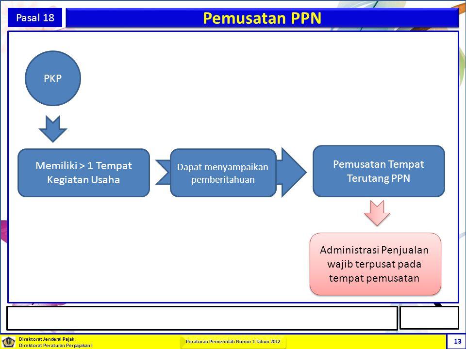 Direktorat Jenderal Pajak Direktorat Peraturan Perpajakan I Peraturan Pemerintah Nomor 1 Tahun 2012 13 Pasal 18 Pemusatan PPN PKP Memiliki > 1 Tempat