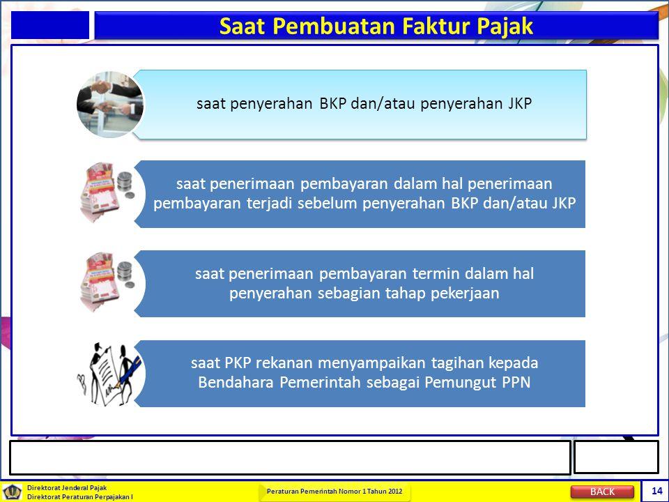 Direktorat Jenderal Pajak Direktorat Peraturan Perpajakan I Peraturan Pemerintah Nomor 1 Tahun 2012 14 Saat Pembuatan Faktur Pajak saat penyerahan BKP