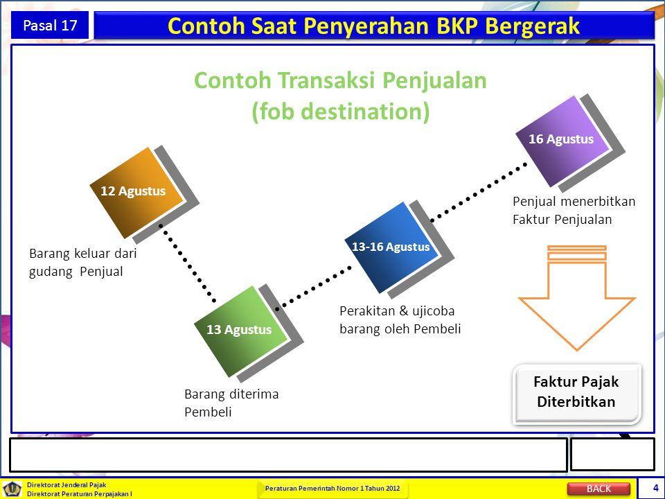 Direktorat Jenderal Pajak Direktorat Peraturan Perpajakan I Peraturan Pemerintah Nomor 1 Tahun 2012 4 Pasal 17 Contoh Saat Penyerahan BKP Bergerak 12