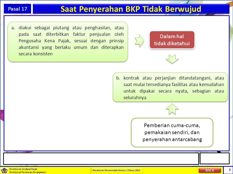 Direktorat Jenderal Pajak Direktorat Peraturan Perpajakan I Peraturan Pemerintah Nomor 1 Tahun 2012 8 Pasal 17 Saat Penyerahan BKP (Aktiva) a.