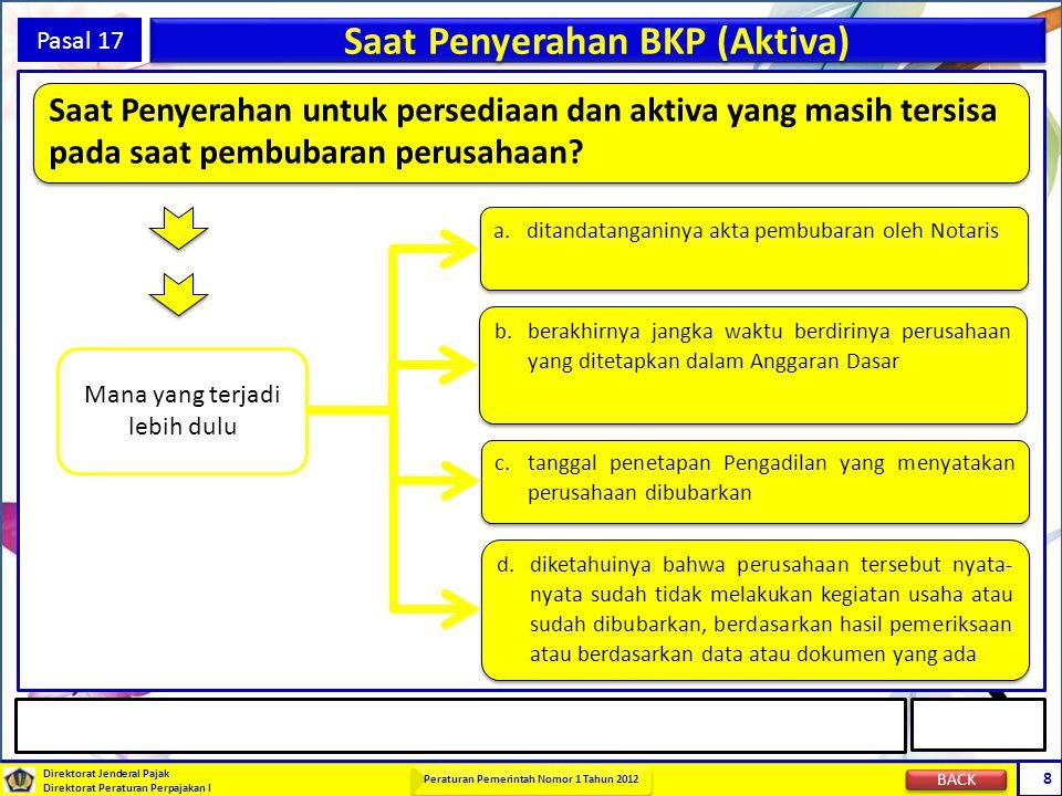 Direktorat Jenderal Pajak Direktorat Peraturan Perpajakan I Peraturan Pemerintah Nomor 1 Tahun 2012 8 Pasal 17 Saat Penyerahan BKP (Aktiva) a. ditanda