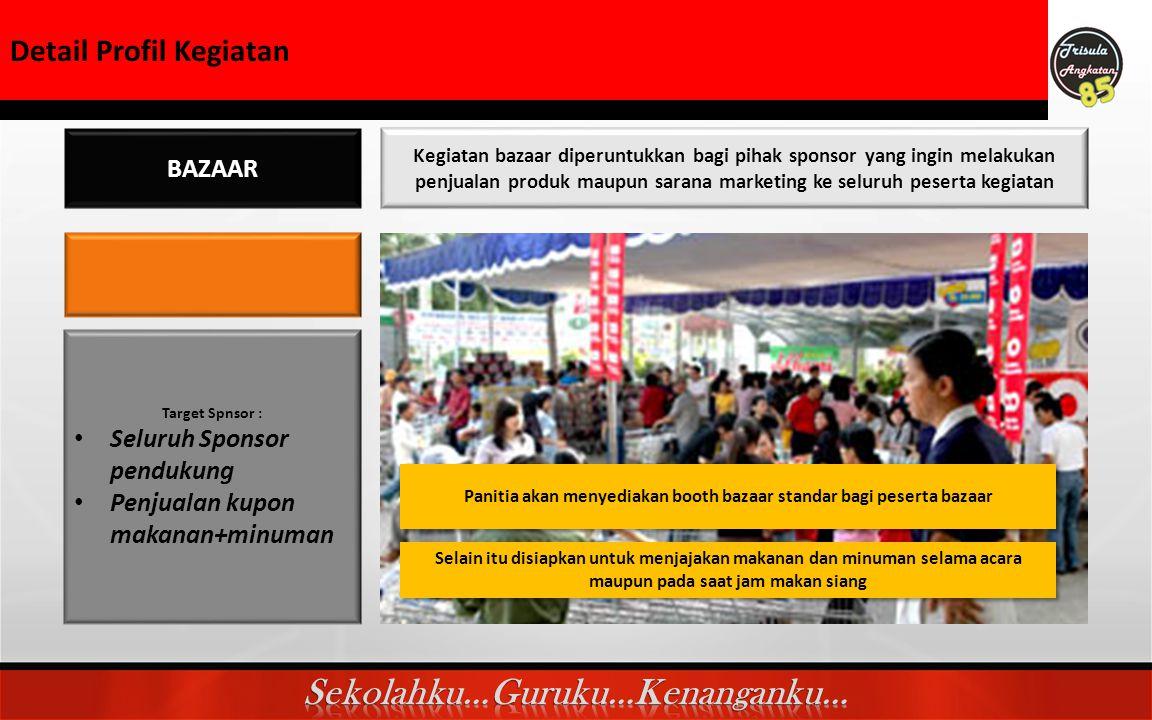 Detail Profil kegiatan BAZAAR Kegiatan bazaar diperuntukkan bagi pihak sponsor yang ingin melakukan penjualan produk maupun sarana marketing ke seluru