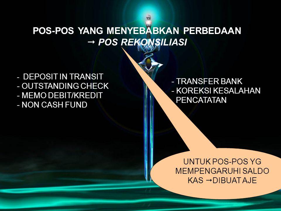 - DEPOSIT IN TRANSIT - OUTSTANDING CHECK - MEMO DEBIT/KREDIT - NON CASH FUND POS-POS YANG MENYEBABKAN PERBEDAAN  POS REKONSILIASI - TRANSFER BANK - K