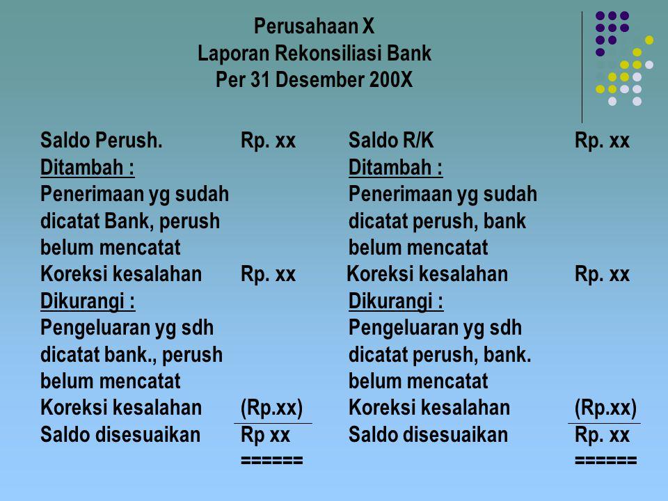 Perusahaan X Laporan Rekonsiliasi Bank Per 31 Desember 200X Saldo Perush.Rp. xx Saldo R/KRp. xx Ditambah : Penerimaan yg sudah dicatat Bank, perush di
