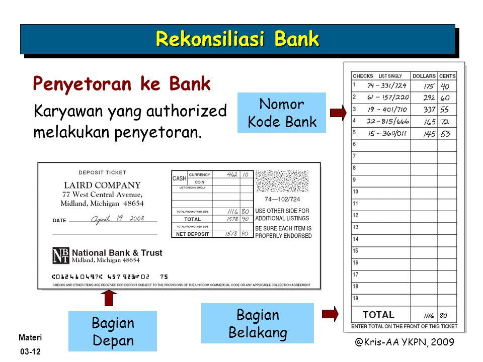 Materi 03-12 @Kris-AA YKPN, 2009 Penyetoran ke Bank Karyawan yang authorized melakukan penyetoran. Nomor Kode Bank Bagian Depan Bagian Belakang Rekons