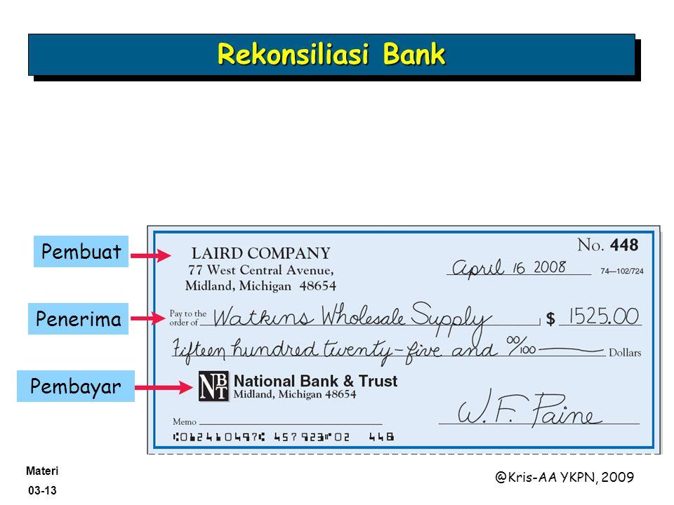 Materi 03-13 @Kris-AA YKPN, 2009 Pembuat Penerima Pembayar Rekonsiliasi Bank