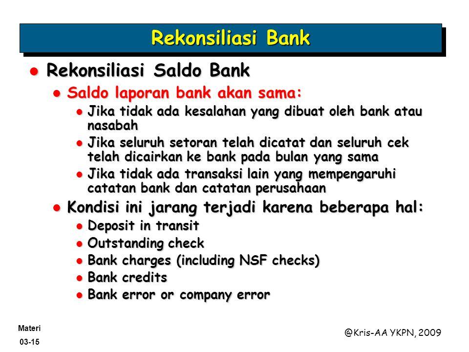 Materi 03-15 @Kris-AA YKPN, 2009 Rekonsiliasi Saldo Bank Rekonsiliasi Saldo Bank Saldo laporan bank akan sama: Saldo laporan bank akan sama: Jika tida