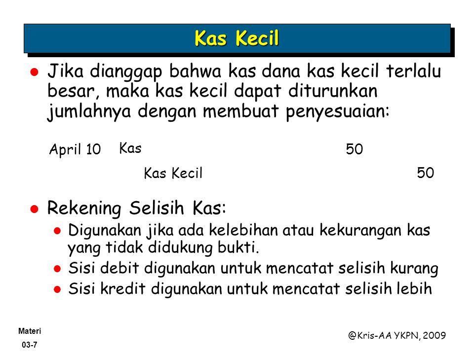 Materi 03-7 @Kris-AA YKPN, 2009 Jika dianggap bahwa kas dana kas kecil terlalu besar, maka kas kecil dapat diturunkan jumlahnya dengan membuat penyesu