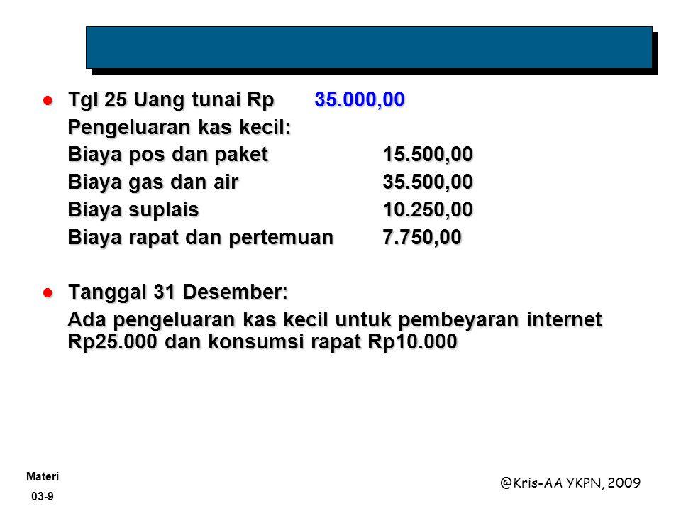 Materi 03-9 @Kris-AA YKPN, 2009 Tgl 25 Uang tunai Rp35.000,00 Tgl 25 Uang tunai Rp35.000,00 Pengeluaran kas kecil: Biaya pos dan paket15.500,00 Biaya