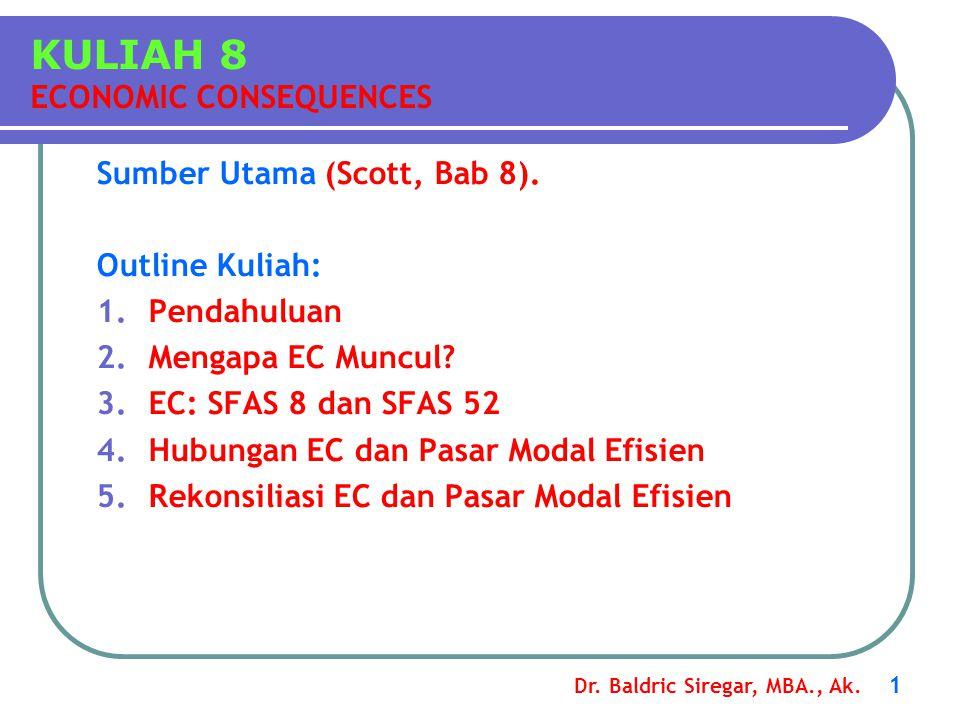 Dr. Baldric Siregar, MBA., Ak. 1 Sumber Utama (Scott, Bab 8). Outline Kuliah: 1.Pendahuluan 2.Mengapa EC Muncul? 3.EC: SFAS 8 dan SFAS 52 4.Hubungan E