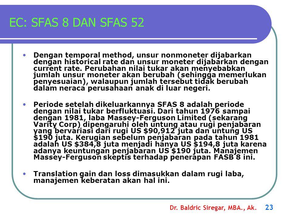Dr. Baldric Siregar, MBA., Ak. 23 EC: SFAS 8 DAN SFAS 52 Dengan temporal method, unsur nonmoneter dijabarkan dengan historical rate dan unsur moneter
