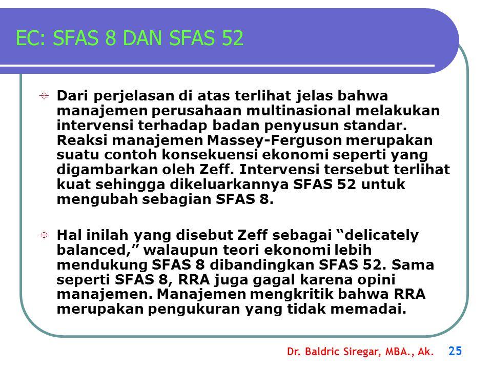 Dr. Baldric Siregar, MBA., Ak. 25 EC: SFAS 8 DAN SFAS 52  Dari perjelasan di atas terlihat jelas bahwa manajemen perusahaan multinasional melakukan i