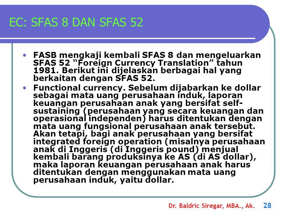 """Dr. Baldric Siregar, MBA., Ak. 28 EC: SFAS 8 DAN SFAS 52 FASB mengkaji kembali SFAS 8 dan mengeluarkan SFAS 52 """"Foreign Currency Translation"""" tahun 19"""