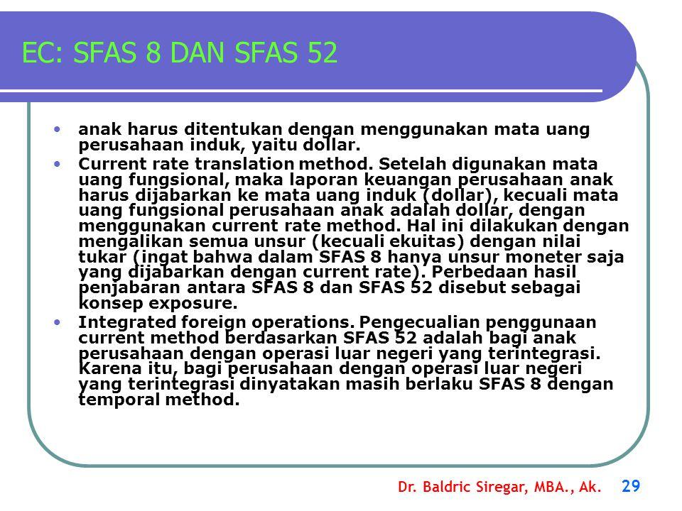 Dr. Baldric Siregar, MBA., Ak. 29 EC: SFAS 8 DAN SFAS 52 anak harus ditentukan dengan menggunakan mata uang perusahaan induk, yaitu dollar. Current ra