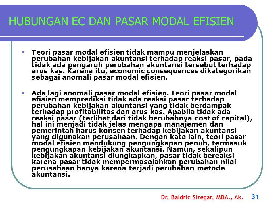 Dr. Baldric Siregar, MBA., Ak. 31 HUBUNGAN EC DAN PASAR MODAL EFISIEN Teori pasar modal efisien tidak mampu menjelaskan perubahan kebijakan akuntansi